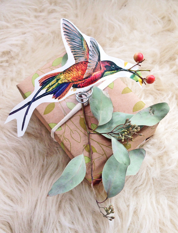 Bird Gift Wrapping Idea