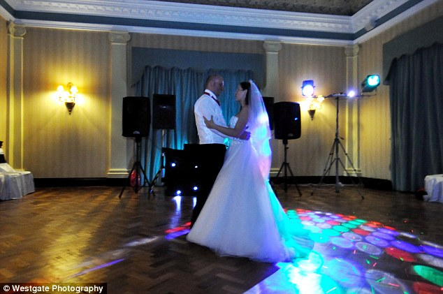 The original shot of the couple enjoying their first dance. Wedding photographer Ian McCloskey revealed the firm had gone bust shortly after the Gearys
