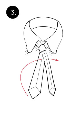 3rd step when tying a tie with the pratt knot